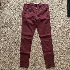 Zara Pants - Zara Trafaluc Denim Pants - Maroon